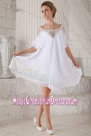 graduation dresses high school shoulder beading half sleeves white prom dresses for graduation