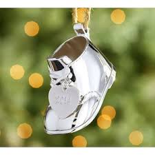 pottery barn 2015 silver plated baby s bootie ornament polyvore