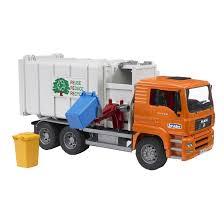 bruder farm toys bruder toys man side loading garbage truck with 2 refuse bins