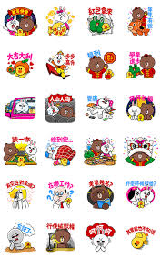 new year sticker line characters happy new year line stickers