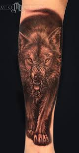 mike devries tattoos black and gray wolf