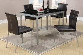 Contemporary Black Dining Chairs Poundex F2363 Contemporary 5 Dining Set With Metal Frame