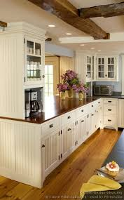 Traditional White Kitchen Cabinets  CrownPointcom Kitchen - White kitchen cabinets with butcher block countertops