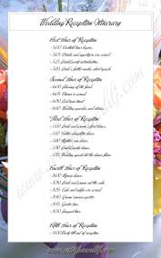wedding reception itinerary sle reception timeline order of events wedding program