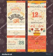 graphic design birthday invitations birthday party invitation boarding pass ticket stock vector