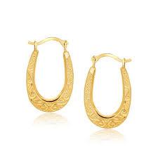 oval hoop earrings 10k yellow gold fancy oval hoop earrings emerald park jewelry