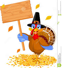 thanksgiving turkey holding sign stock vector image 27397286