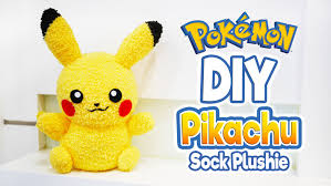 diy pikachu sock plushie with free pattern cute pokemon tutorial