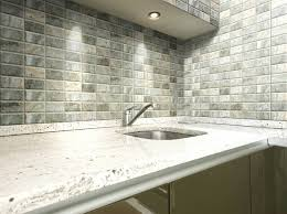 long subway tile backsplash water jet marble design glass