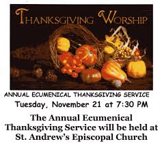 annual ecumenical thanksgiving service november 21st the