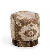 kilim covered round footstool ottoman