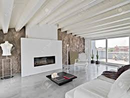 modern living room in the attic with wood ceiling stock photo
