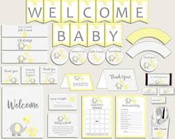 yellow and gray baby shower decorations yellow baby shower etsy