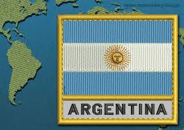 Argentine Flag Argentina Text Flag Embroidery Design With A Gold Border