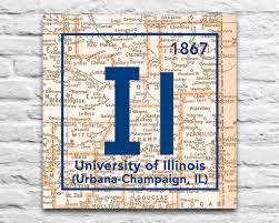 University Of Illinois Map Fighting Illini University Of Illinois Urbana Champaign Vintage