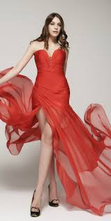 red prom dress with slit sweetheart flowy prom dresses long