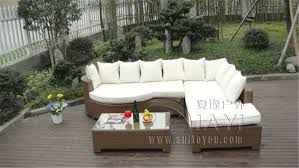 wicker sleeper sofa 3 pcs home lounge sofa with pillow synthetic rattan sleeper sofa