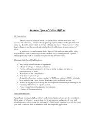 Special Police Officer Resume Police Officer Letter Of Recommendation Sample Cover Letter