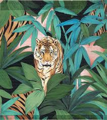 painting jungle wtih palm trees and tiger 591 ru digital