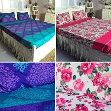 Buy Cheap Double Bed Sheets Online India Rebeka 2 Fitted Bedsheet Combo Bed Sheets Homeshop18