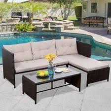 Rattan Sleeper Sofa Modern Chaise Lounge Outdoor Daybed Shade Garden Rattan Sleeper