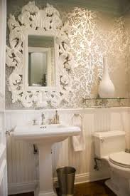 wallpaper bathroom designs chic powder room features top half of walls clad in beige