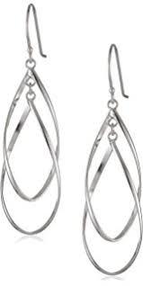 wire earrings sterling silver linear swirl wire earrings
