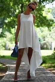 white plain round neck irregular sleeveless high low cute dress