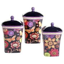purple kitchen canister sets floral ceramic kitchen canisters shop the best deals for nov