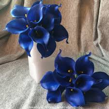 blue lilies royal blue calla bouquet 10 stems cobalt wedding flowers