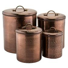 Large Kitchen Canisters Old Dutch 4 Piece Hammered Antique Copper Canister Set 1843 The