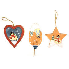 cheap ornament wood craft santa claus snowman tree