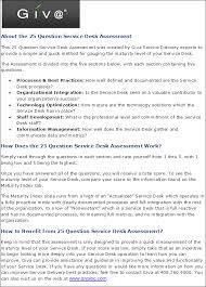 Service Desk Level 1 25 Question Service Desk Assessment Giva