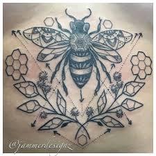 geometric bee sternum tattoo jammer designz jammerdesignz com
