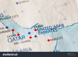 World Map Of Middle East by Closeup Dubai United Arab Emirates On Stock Photo 365702111