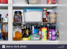 Kitchen Cupboard Shelving Kitchen Cupboard Contents Showing Cooking Ingredients Food Stuffs