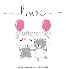 teddy bears in balloons cover design depicts teddy bears dressestwo stock vector 585475355
