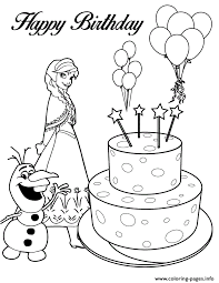 olaf anna birthday cake colouring coloring pages printable