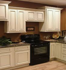 White Kitchen Cabinets White Appliances by Wonderful Wooden Antique White Cabinets As Kitchen Cabinetry Set