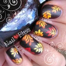 2014 thanksgiving matte leaves nail design orange and leaf