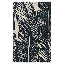 Black Outdoor Rugs Tovere Coastal Black Palm Leaves Outdoor Rug 4 X6 Kathy