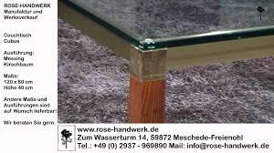 Glas Wohnzimmertisch Couchtisch Cubus Metall Messing Holz Kirschbaum Glas Youtube