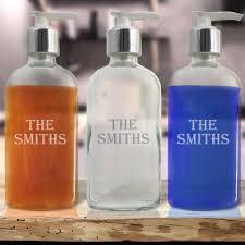 personalized glass soap dispenser