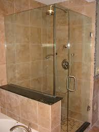 bathroom luxury frameless glass shower doors with rain shower set