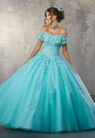 aqua blue quinceanera dresses the shoulder lace quinceanera dress by mori vizcaya 89168