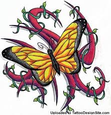 yellow butterfly design beautiful tattoos for