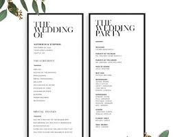wedding programs printable wedding programs etsy