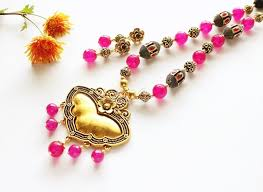 necklace gold pink images Ethnic pink pendant necklace set antique gold tone necklace at jpg