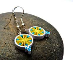 eco earrings small earrings eco friendly quilled paper mandala quilling