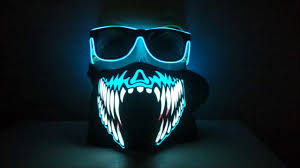 raptor mask halloween rave sound activated band mask with glow glasses youtube